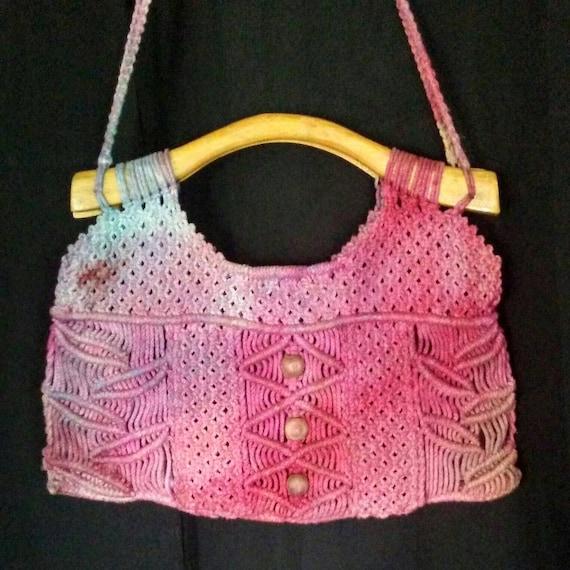Vintage Boho Macrame Messenger Bag with added Agate Stone.