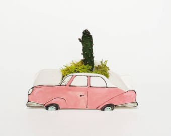 Small pink 1950 car planter. Perfect cactus or succulent planter. Unique planter! Mini planter