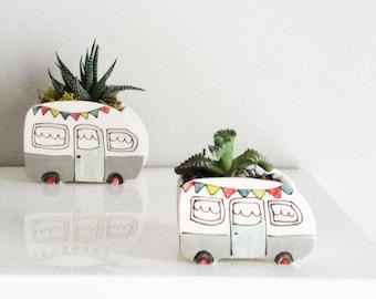 Mini gray vintage camper planter. Perfect for cactus, succulent. Mini planter