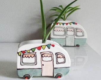 Mini turquoise vintage caravan vase for plants. Perfect for cactus, succulent. Mini planter