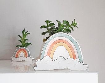 Small Rainbow planter. Happy ceramic planter to make your plant smile.Perfect cactus or succulent planter. Unique feel good gift!