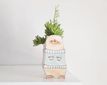Large otter ceramic planter. Small happy ceramic planter. Cactus lovers gift