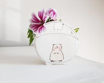 Small ceramic planter hamster in a ball