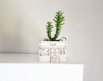 Small planter.Café boutique vase for plants. Perfect cactus or succulent ceramic planter. Small planter, mini ceramic planter .Cute gift!