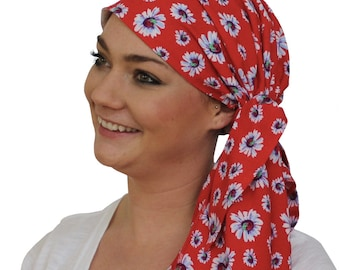 Jessica Pre-Tied Head Scarf, Women's Cancer Headwear, Chemo Scarf, Alopecia Hat, Head Wrap, Head Cover for Hair Loss - Red Daisies