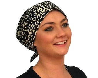 Pre-Tied Head Scarf, Women's Chemo Headwear, Cancer Hat, Alopecia Head Wrap, Head Cover, Hair Loss Gift, Cancer Gift, Chemo Gift, Leopard