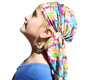 Ava Joy Children's Head Scarf Girl's Cancer Head Wrap Chemo Hat Alopecia Scarf Cancer Gift for Hair Loss Childhood Cancer  Purple Sunflowers