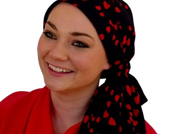 Pre-Tied Head Scarf, Women's Cancer Headwear, Chemo Head Cover, Alopecia Hat, Head Wrap, Hair Loss, Cancer Gift, Chemo Gift, Red Hearts