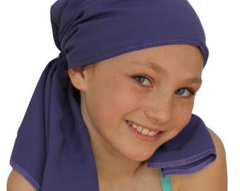 Ava Joy Children's Pre-Tied Head Scarf, Girl's Cancer Headwear, Chemo Head Cover, Alopecia Hat, Head Wrap, Cancer Gift, Hair Loss - Purple