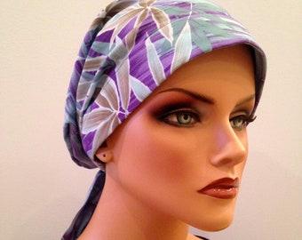 Pre-Tied Head Scarf, Women's Cancer Headwear, Chemo Hat, Alopecia Head Wrap, Head Cover, Hair Loss, Cancer Gift, Chemo Gift, Purple Bamboo
