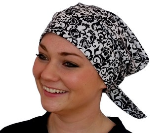 Sandra Scarf, A Women's Surgical Scrub Cap, Cancer Headwear, Chemo Head Scarf, Alopecia Hat, Head Wrap, Head Cover, Hair Loss - Black White