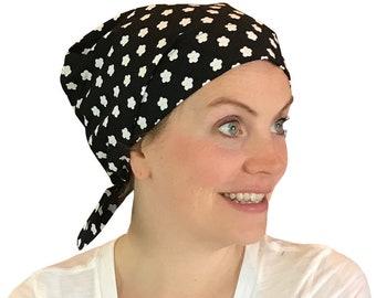 Sandra Scarf, Women's Surgical Scrub Cap, Cancer Hat, Chemo Head Scarf, Alopecia Head Cover, Head Wrap, Headwear, Hair Loss Black Flowers