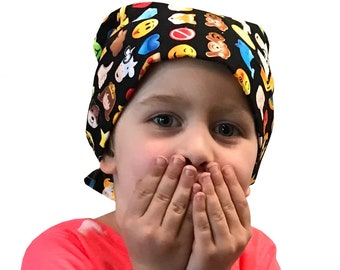 Mia Children's Head Cover, Girl's Cancer Hat, Chemo Scarf, Alopecia Headwear, Head Wrap, Cancer Gift for Hair Loss - Emojis