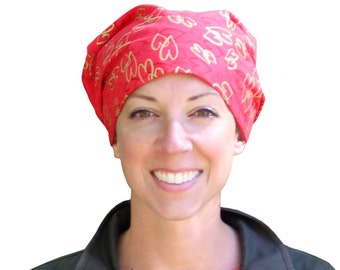 Sandra Scarf, A Women's Surgical Scrub Cap, Cancer Headwear, Chemo Head Scarf, Alopecia Hat, Head Wrap, Head Cover, Hair Loss Red Gold Heart