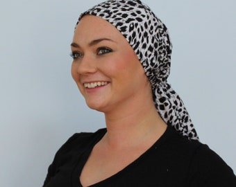 Jessica Pre-Tied Head Scarf, Women's Cancer Headwear, Chemo Scarf, Alopecia Hat, Head Wrap, Head Cover for Hair Loss - White Cheetah