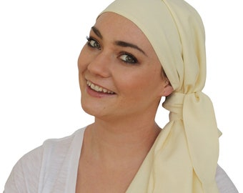 Jessica Pre-Tied Head Scarf, Women's Cancer Headwear, Chemo Scarf, Alopecia Hat, Head Wrap, Head Cover for Hair Loss - Creamy Yellow