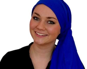 Carlee Pre-Tied Head Scarf, Women's Cancer Headwear, Chemo Scarf, Alopecia Hat, Head Wrap, Head Cover for Hair Loss - Caribbean Blue