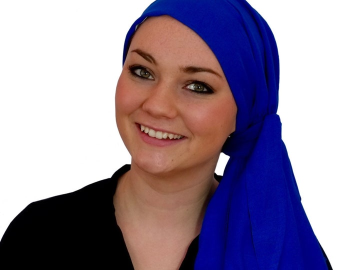 Featured listing image: Pre-Tied Head Scarf, Women's Cancer Headwear, Chemo Head Cover, Alopecia Hat, Head Wrap, Hair Loss, Cancer Gift, Chemo Gift, Royal Blue