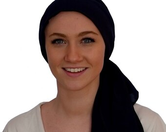 Pre-Tied Head Scarf, Women's Cancer Headwear, Chemo Head Cover, Alopecia Hat, Head Wrap, Hair Loss, Cancer Gift, Chemo Gift, Black