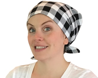 Women's Flannel Head Scarf, Cancer Headwear, Chemo Hat, Alopecia Head Cover, Head Wrap, Hair Loss Gift, Cancer Gift, Black And White Plaid