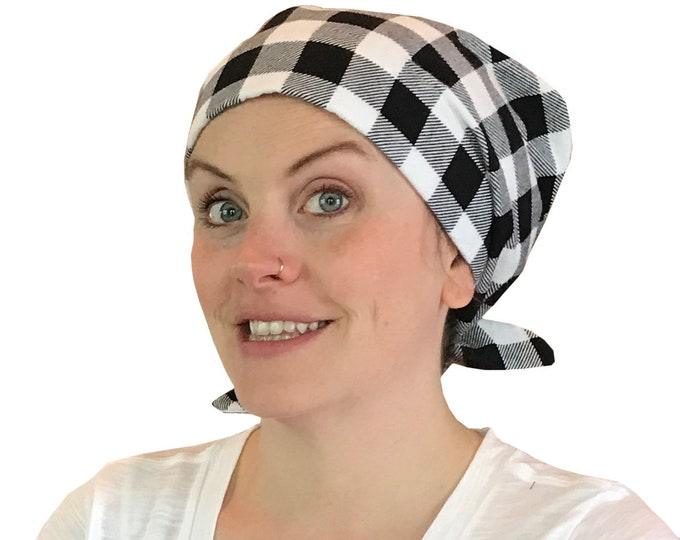 Featured listing image: Krystal Women's Flannel Head Scarf, Cancer Hat, Chemo Scarf, Alopecia Head Cover, Head Wrap, Headwear for Hair Loss. Black and White Plaid