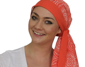 Pre-Tied Head Scarf, Women's Cancer Headwear, Chemo Head Cover, Alopecia Hat, Head Wrap, Hair Loss, Cancer Gift, Chemo Gift, Orange