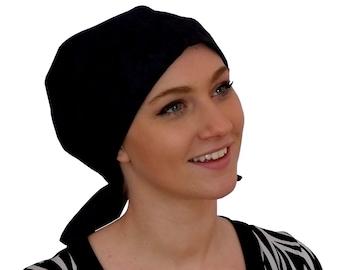 Women's Surgical Scrub Cap, Scrub Hat, Cancer Head Scarf, Chemo Headwear, Alopecia Head Cover, Head Wrap, Cancer Gift, Black Flowers