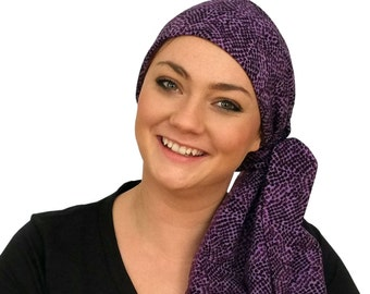 Carlee Pre-Tied Head Scarf - A Women's Cancer Headwear, Chemo Scarf, Alopecia Hat, Head Wrap, Head Cover for Hair Loss - Purple Mania