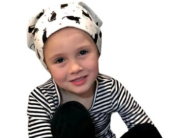 Chemo Hat For Kids, Ages 2 - 10, Childhood Cancer, Cancer Gifts, Black Cat Chemo Headwear