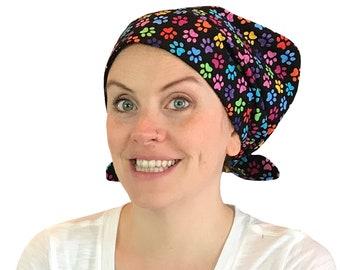 Women's Surgical Scrub Cap, Scrub Hat, Cancer Head Scarf, Chemo Headwear, Alopecia Head Cover, Head Wrap, Cancer Gift, Hair Loss, Black Paws