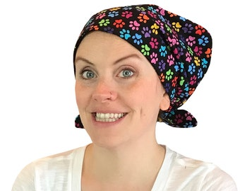 Sandra Women's Surgical Scrub Cap, Cancer Hat, Chemo Head Scarf, Alopecia Head Cover, Head Wrap, Headwear, Hair Loss - Rainbow Paws Black