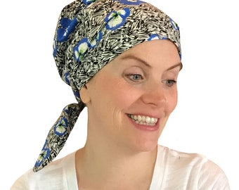 Sandra Women's Surgical Scrub Cap, Cancer Hat, Chemo Head Scarf, Alopecia Head Wrap, Headwear, Cancer Gift, Hair Loss Blue Pansies