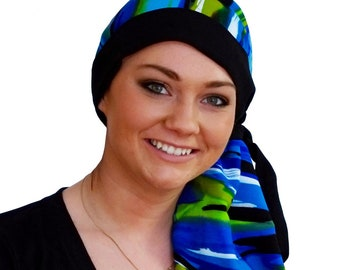 Pre-Tied Head Scarf, Women's Cancer Headwear, Chemo Head Cover, Alopecia Hat, Head Wrap, Hair Loss, Cancer Gift, Chemo Gift, Blue Waves