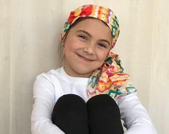 Ava Childrens Pre-Tied Head Scarf, Girl's Cancer Hat, Chemo Head Cover, Alopecia Headwear, Head Wrap, Cancer Gift, Hair Loss, Orange Yellow