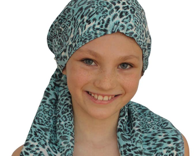 Featured listing image: Ava Joy Children's Pre-Tied Head Scarf, Girl's Cancer Headwear, Chemo Head Cover, Alopecia Hat, Head Wrap Cancer Gift Hair Loss Blue Leopard