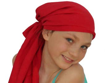 Ava Joy Children's Pre-Tied Head Scarf, Girl's Cancer Headwear, Chemo Head Cover, Alopecia Hat, Head Wrap, Cancer Gift for Hair Loss - Red
