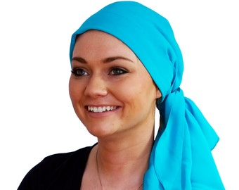 Pre-Tied Head Scarf, Women's Cancer Headwear, Chemo Head Cover, Alopecia Hat, Head Wrap, Hair Loss, Cancer Gift, Chemo Gift, Turquoise