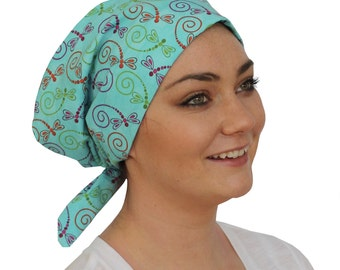 Sandra Scarf, A Women's Surgical Scrub Cap, Cancer Headwear, Chemo Head Scarf, Alopecia Hat, Head Wrap, Head Cover, Hair Loss - Dragonflies