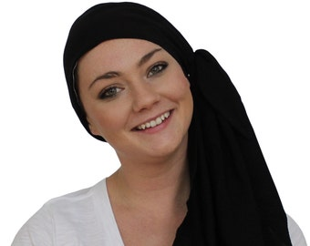 Jessica Pre-Tied Head Scarf, Women's Cancer Headwear, Chemo Scarf, Alopecia Hat, Head Wrap, Head Cover for Hair Loss - Black