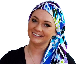 Pre-Tied Head Scarf, Women's Cancer Headwear, Chemo Head Cover, Alopecia Hat, Head Wrap, Hair Loss, Cancer Gift, Chemo Gift, Blue Tropics