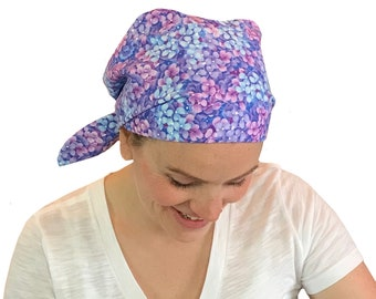 Sandra Women's Surgical Scrub Cap, Cancer Hat, Chemo Head Scarf, Alopecia Head Wrap, Headwear, Cancer Gift, Hair Loss Blue Heather Flowers