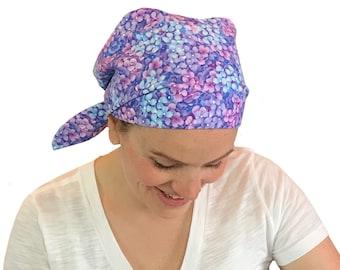 Women's Surgical Scrub Cap, Scrub Hat, Cancer Head Scarf, Chemo Headwear, Alopecia Head Cover, Head Wrap, Cancer Gift, Blue Heather Flowers