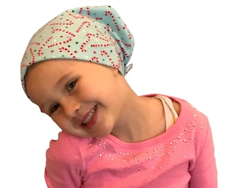 Children's Flannel Head Scarf, Girl's Cancer Headwear, Chemo Hat, Alopecia Head Cover, Head Wrap, Cancer Gift, Hair Loss, Blue Candy Canes