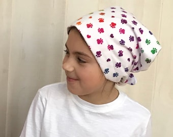 Children's Flannel Head Scarf, Girl's Cancer Headwear, Chemo Hat, Alopecia Head Cover, Head Wrap, Cancer Gift, Hair Loss Gift, Rainbow Paws