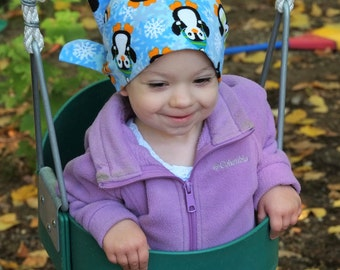 Children's Flannel Head Scarf, Girl's Cancer Headwear, Chemo Hat, Alopecia Head Cover, Head Wrap, Cancer Gift, Hair Loss Gift, Blue Penguin