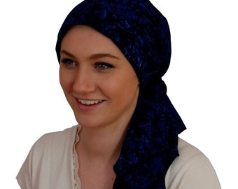 Pre-Tied Head Scarf, Women's Cancer Headwear, Chemo Head Cover, Alopecia Hat, Head Wrap, Hair Loss, Cancer Gift, Navy Blue Tie Dye