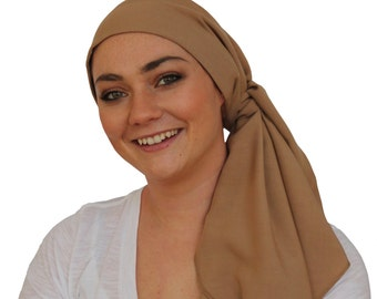 Carlee Pre-Tied Head Scarf, Women's Cancer Headwear, Chemo Scarf, Alopecia Hat, Head Wrap, Head Cover for Hair Loss - Khaki