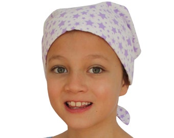 Jaye Children's Flannel Head Cover, Girl's Cancer Headwear, Chemo Scarf, Alopecia Hat, Head Wrap, Cancer Gift for Hair Loss - Purple Stars
