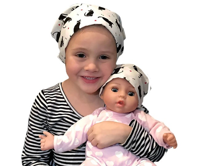 Featured listing image: Twin Head Scarves, Mia Child's Head Scarf And Shiri Doll Hat, Cancer Gift, Chemo Hat, Cancer Head Wrap, Alopecia, Hair loss, Black Cats