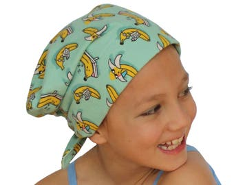 Jaye Children's Flannel Head Cover, Girl's Cancer Headwear, Chemo Scarf, Alopecia Hat, Head Wrap, Cancer Gift for Hair Loss - Going Bananas!